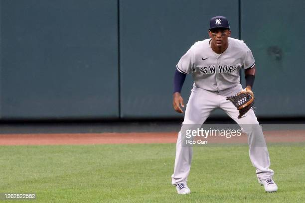 Miguel Andujar of the New York Yankees follows the ball against the Baltimore Orioles at Oriole Park at Camden Yards on July 30, 2020 in Baltimore,...