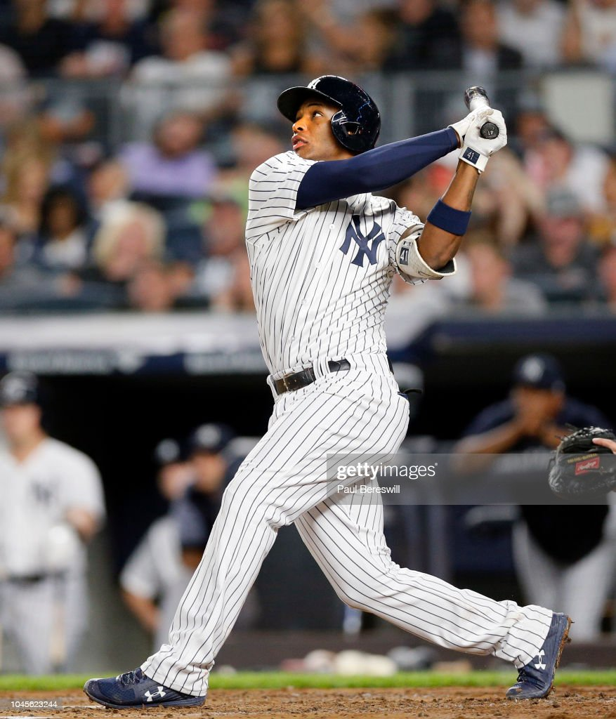 Miguel Andujar Of The New York Yankees Hits A Home Run In