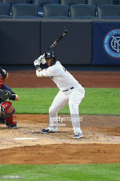Miguel Andujar of the New York Yankees in action against the Boston Red Sox at Yankee Stadium on August 02, 2020 in New York City. New York Yankees...