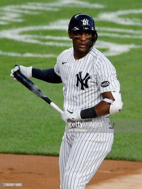 Miguel Andujar of the New York Yankees in action against the Boston Red Sox at Yankee Stadium on August 02, 2020 in New York City. The Yankees...