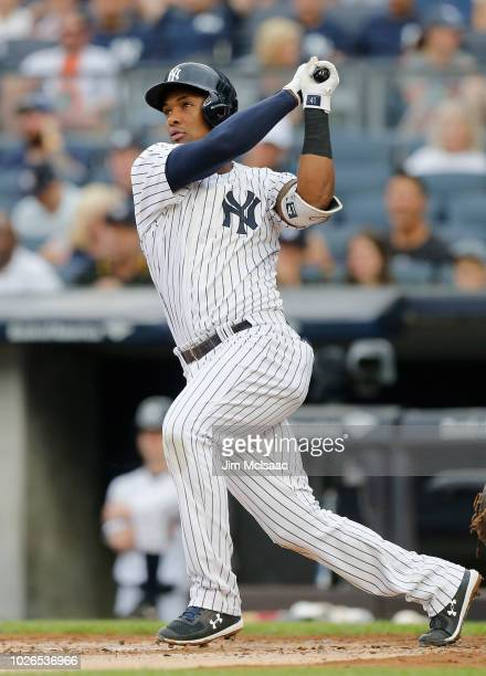 Miguel Andujar of the New York Yankees in action against the Detroit Tigers at Yankee Stadium on September 2 2018 in the Bronx borough of New York...