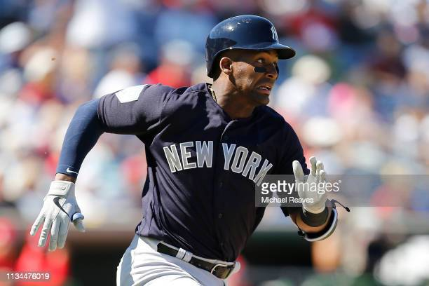 Miguel Andujar of the New York Yankees in action against the Philadelphia Phillies during the Grapefruit League spring training game at Spectrum...