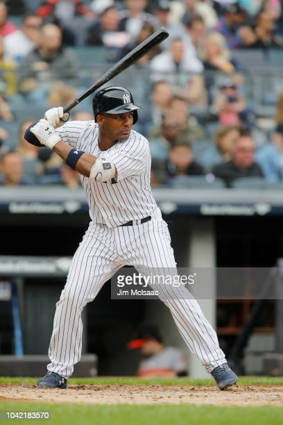 Miguel Andujar of the New York Yankees in action against the Baltimore Orioles at Yankee Stadium on September 23 2018 in the Bronx borough of New...