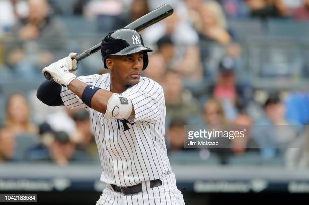 Miguel Andujar of the New York Yankees in action against the Baltimore Orioles at Yankee Stadium on September 23, 2018 in the Bronx borough of New...
