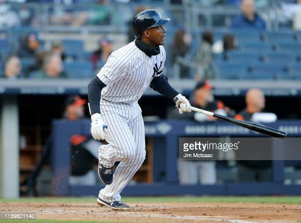 Miguel Andujar of the New York Yankees in action against the Baltimore Orioles at Yankee Stadium on March 31, 2019 in the Bronx Borough of New York...
