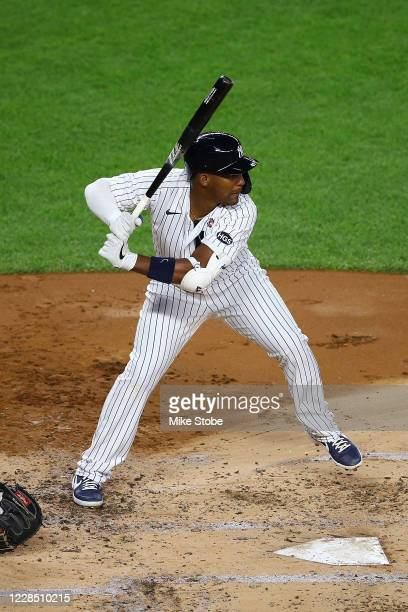 Miguel Andujar of the New York Yankees in action against the Baltimore Orioles at Yankee Stadium on September 11, 2020 in New York City. New York...