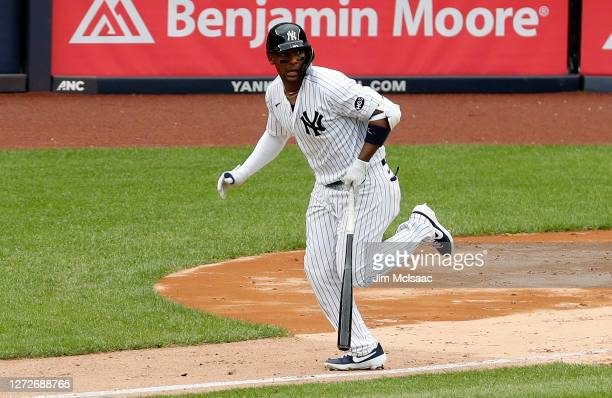 Miguel Andujar of the New York Yankees in action against the Baltimore Orioles at Yankee Stadium on September 13, 2020 in New York City. The Yankees...