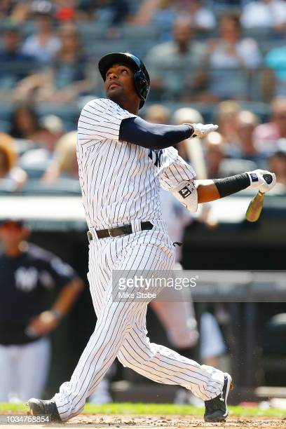 Miguel Andujar of the New York Yankees in action against the Toronto Blue Jays at Yankee Stadium on September 16 2018 in the Bronx borough of New...