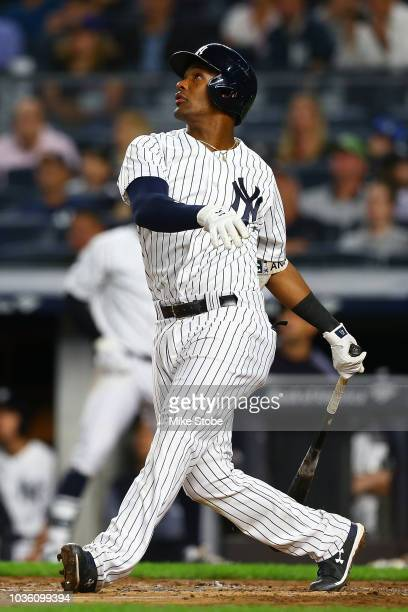 Miguel Andujar of the New York Yankees in action against the Toronto Blue Jays at Yankee Stadium on September 14 2018 in the Bronx borough of New...