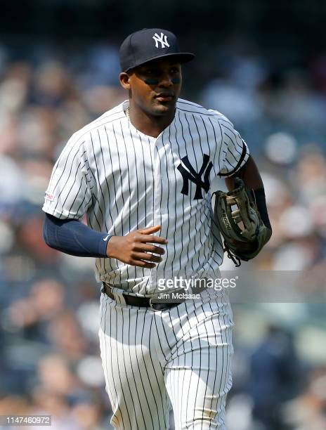 Miguel Andujar of the New York Yankees in action against the Minnesota Twins at Yankee Stadium on May 04, 2019 in the Bronx borough of New York City....