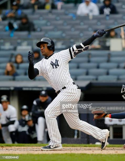 Miguel Andujar of the New York Yankees in action against the Minnesota Twins at Yankee Stadium on May 05, 2019 in New York City.