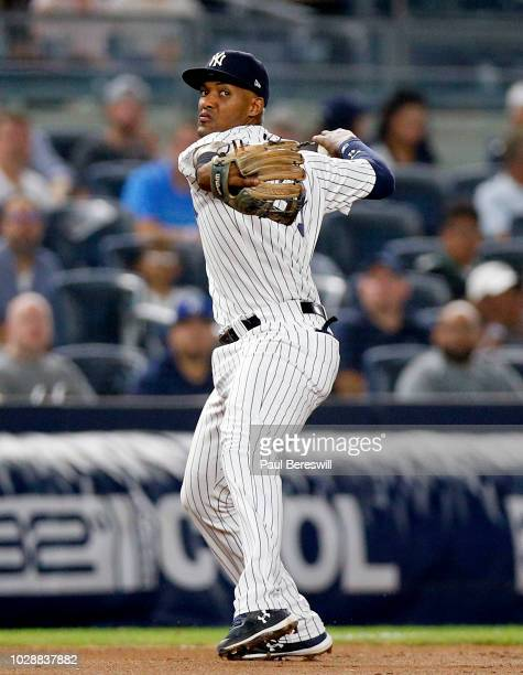 Miguel Andujar of the New York Yankees in action during an MLB baseball game against the Chicago White Sox on August 27 2018 at Yankee Stadium in the...