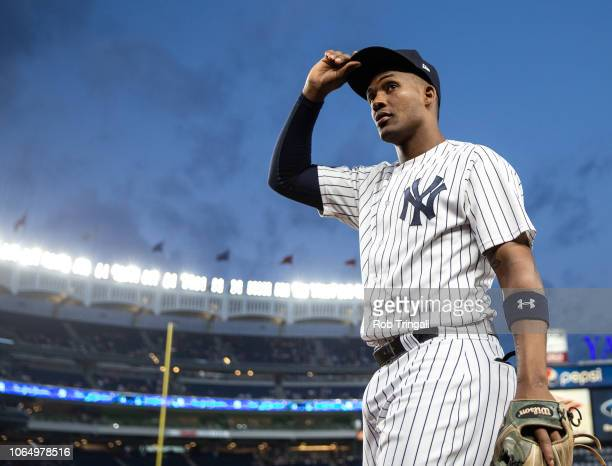 Miguel Andujar of the New York Yankees looks on during a game against the Boston Red Sox at Yankee Stadium on Wednesday September 19 2018 in the...