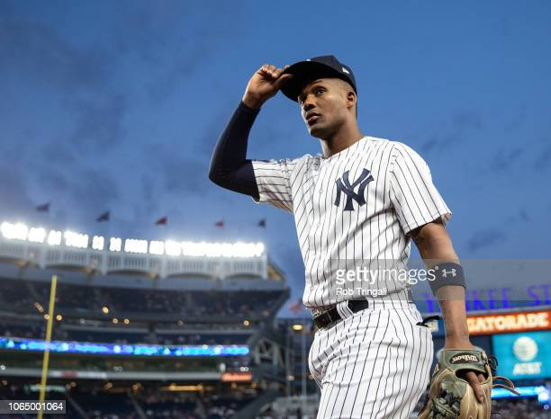 Miguel Andujar of the New York Yankees looks on during a game against the Boston Red Sox at Yankee Stadium on Wednesday, September 19, 2018 in the...