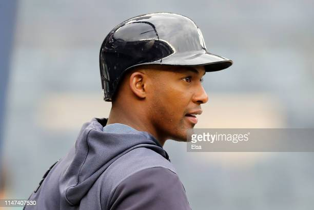 Miguel Andujar of the New York Yankees looks on during batting practice before the game against the Seattle Mariners at Yankee Stadium on May 06,...