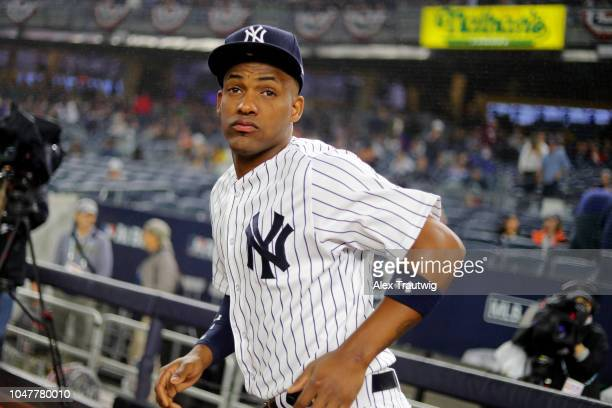 Miguel Andujar of the New York Yankees looks on prior to Game 3 of the ALDS against the Boston Red Sox at Yankee Stadium on Monday October 8 2018 in...