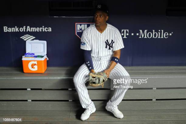 Miguel Andujar of the New York Yankees looks on prior to Game 3 of the ALDS against the Boston Red Sox at Yankee Stadium on Monday, October 8, 2018...