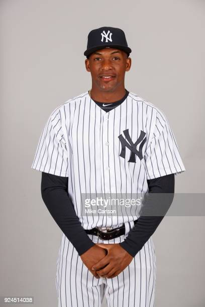 Miguel Andujar of the New York Yankees poses during Photo Day on Wednesday February 21 2018 at George M Steinbrenner Field in Tampa Florida