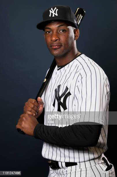 Miguel Andujar of the New York Yankees poses for a portrait during the New York Yankees Photo Day on February 21, 2019 at George M. Steinbrenner...