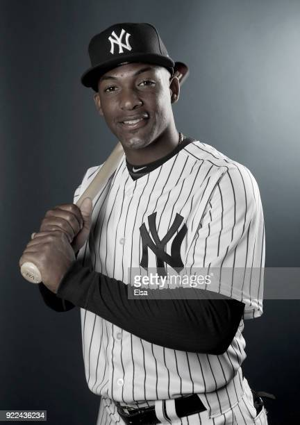 Miguel Andujar of the New York Yankees poses for a portrait during the New York Yankees photo day on February 21 2018 at George M Steinbrenner Field...