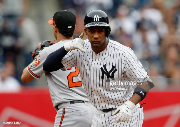 Miguel Andujar of the New York Yankees reacts after his third inning double against the Baltimore Orioles at Yankee Stadium on September 23, 2018 in...