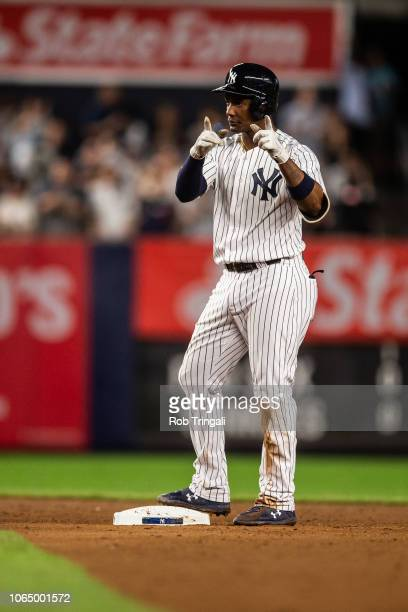 Miguel Andujar of the New York Yankees reacts during a game against the Boston Red Sox at Yankee Stadium on Wednesday, September 19, 2018 in the...