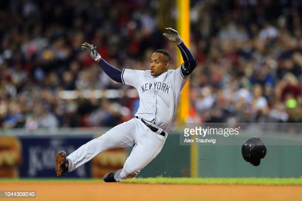 Miguel Andujar of the New York Yankees slides into second base during the game against the Boston Red Sox at Fenway Park on Friday September 28, 2018...