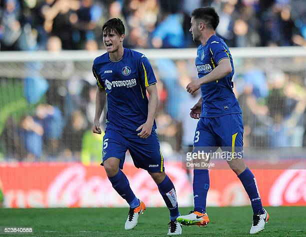 Miguel Angel and Alvaro Medran of Getafe celebrate after their team scored their 2nd goal during the La Liga match between Getafe CF and Valencia CF...