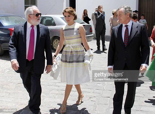 Miguel Angel Arias Canete Maria Dolores de Cospedal and Ignacio López del Hierro attend Jose Maria del Rio Oriol and Bosco Torremocha's wedding at...