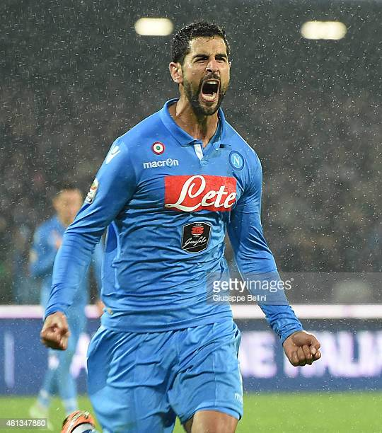 Miguel Angel Britos of Napoli celebrates after scoring goal 11 during the Serie A match between SSC Napoli and Juventus FC at Stadio San Paolo on...
