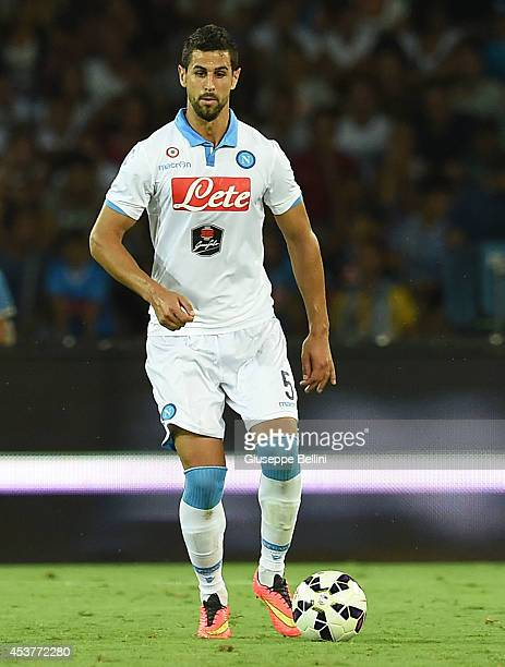 Miguel Angel Britos of Napoli in action during the preseason friendly match between SSC Napoli and Paris SaintGermain FC at Stadio San Paolo on...