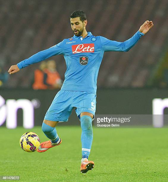 Miguel Angel Britos of Napoli in action during the Serie A match between SSC Napoli and Juventus FC at Stadio San Paolo on January 11 2015 in Naples...