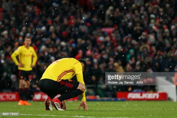 Miguel Angel Britos of Watford dejected during the Premier League match between Liverpool and Watford at Anfield on March 17 2018 in Liverpool England