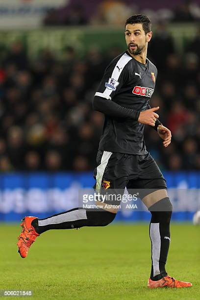 Miguel Angel Britos of Watford during the Barclays Premier League match between Swansea City and Watford at the Liberty Stadium on January 18 2016 in...
