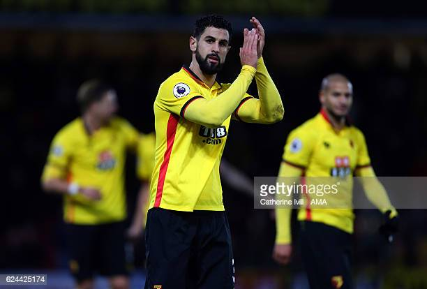 Miguel Angel Britos of Watford during the Premier League match between Watford and Leicester City at Vicarage Road on November 19 2016 in Watford...