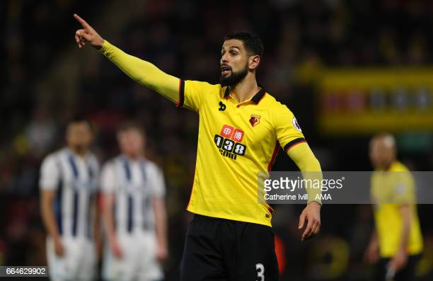 Miguel Angel Britos of Watford during the Premier League match between Watford and West Bromwich Albion at Vicarage Road on April 4 2017 in Watford...