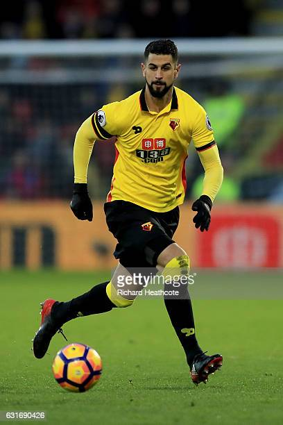 Miguel Angel Britos of Watford in action during the Premier League match between Watford and Middlesbrough at Vicarage Road on January 14 2017 in...