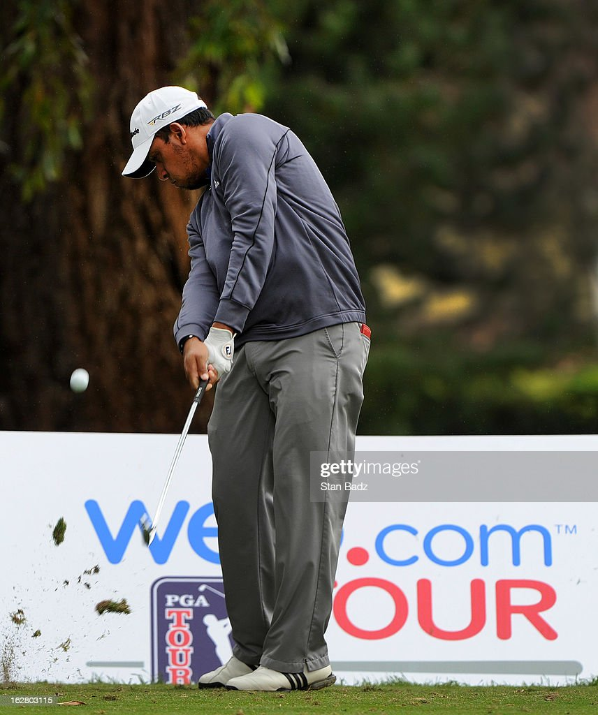 Miguel Angel Carballo hits a tee shot on the sixth hole during the practice round for the Colombia Championship at Country Club de Bogotá on February 27, 2013 in Bogotá, Colombia.
