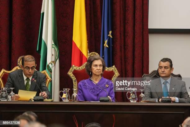 Miguel Angel Castro Queen Sofia And Antonio Sanz Queen Sofia Attends 'Juan Antonio Carrillo Salcedo To Human Rights' Awards in Seville on December 10...