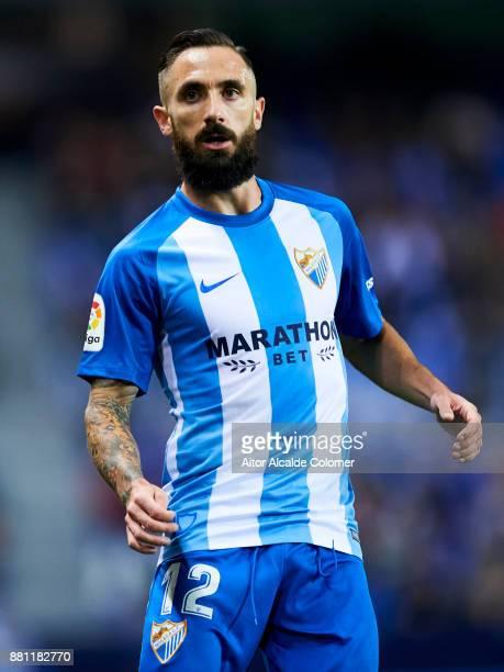 Miguel Angel Garrido Cifuentes of Malaga CF reacts during the Copa del Rey match between Malaga CF and Numancia at La Rosaleda Stadium on November 28...