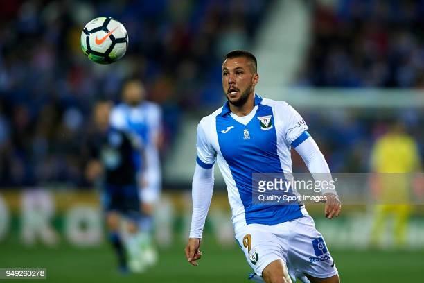 Miguel Angel Guerrero of Leganes in action during the La Liga match between Leganes and Deportivo La Coruna at Estadio Municipal de Butarque on April...
