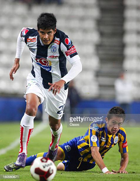 Miguel Angel Herrera of Pachuca fights for the ball with Jorge Ornelas of La Piedad during a match between Pachuca and La Piedad as part of the Copa...