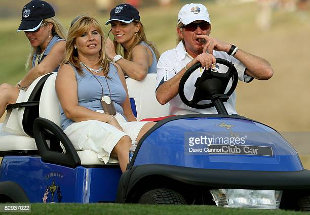 Miguel Angel Jimenez and his wife Montserrat Bravo Ramirez during the singles matches on the final day of the 2008 Ryder Cup at Valhalla Golf Club on...