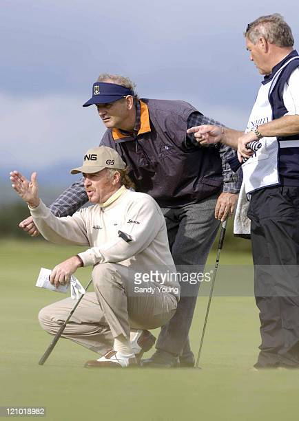 Miguel Angel Jimenez Bill Murray an caddie during the second round of 2006 Alfred Dunhill Links Championship on the old course at St Andrews Scotland...