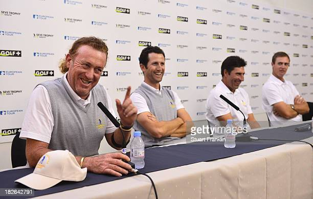 Miguel Angel Jimenez Gregory Bourdy captain Jose Maria Olazabal and Nicolas Colsaerts of the European team during a press conference prior to the...
