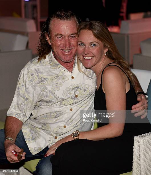 Miguel Angel Jimenez of Spain and his wife Susanna at the European Tours beach party prior to the DP World Tour Championship on the Earth course at...