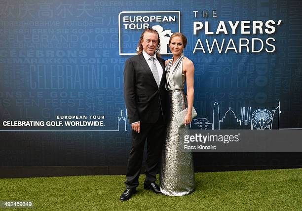 Miguel Angel Jimenez of Spain and his wife Susanna Styblo attend the European Tour Players' Awards ahead of the BMW PGA Championship at the Sofitel...