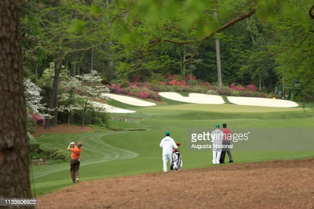 Miguel Angel Jimenez of Spain and Jose Maria Olazabal of Spain on No 13 during Practice Round 1 for the Masters at Augusta National on Monday April 6...