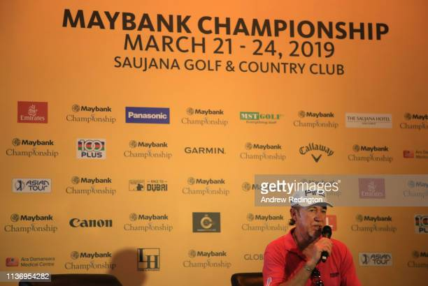 Miguel Angel Jimenez of Spain attends a press conference during the Pro Am event prior to the start of the Maybank Championship at the Saujana Golf...