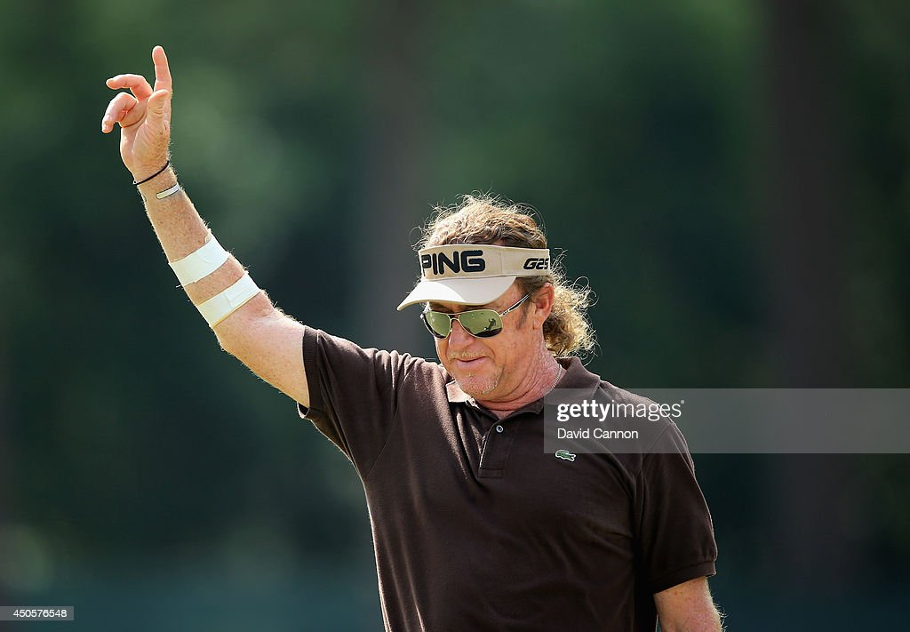Miguel Angel Jimenez of Spain celebrates making eagle on the third hole during the second round of the 114th U.S. Open at Pinehurst Resort & Country Club, Course No. 2 on June 13, 2014 in Pinehurst, North Carolina.